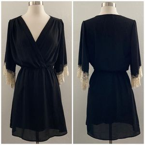Veronica M Lace Bell Sleeve Dress Black Small